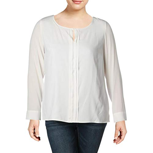 Calvin Klein Womens Pleated Long Sleeves Blouse Ivory XL