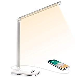 Lampe de Bureau LED, Lampes de Bureau Dimmable 5 Modes de Couleur 10 Niveaux de Luminosité, Flexible Contrôle Tactile…