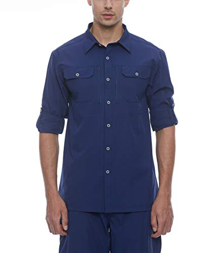 Little Donkey Andy Men's Stretch Quick Dry Water Resistant Outdoor Shirts UPF50+ for Hiking, Travel,Camping Navy Size L