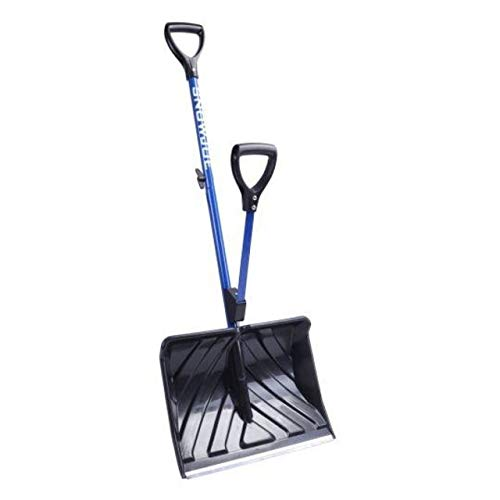Snow Joe SJ-SHLV01 SHOVELUTION 18-in Strain-Reducing Snow Shovel w/Spring Assisted Handle, Blue (Remover Ready Strip)