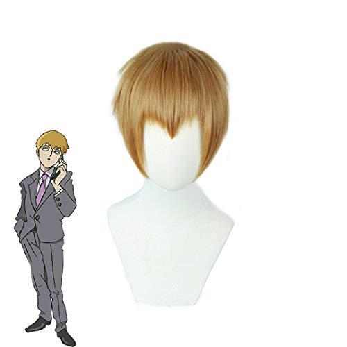 Mob Psycho 100 Arataka Reigen Cosplay Wigs Short Heat Resistant Synthetic Hair Perucas Cosplay Wig #1 Arataka Reigen -