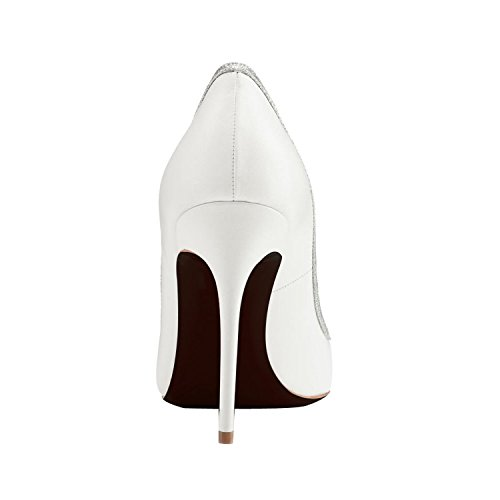 MerMer Zapatos De Tacón Alto de Aguja Puntiaguda Clasico Blanco Para La Boda