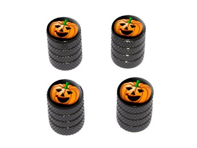 Jack-o-lantern - Pumpkin - Halloween - Tire Rim Wheel Valve Stem Caps - Black -