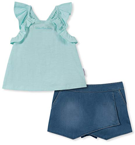 Calvin Klein Girls' Little 2 Pieces Shorts Set, Bleached Aqua/Denim, ()