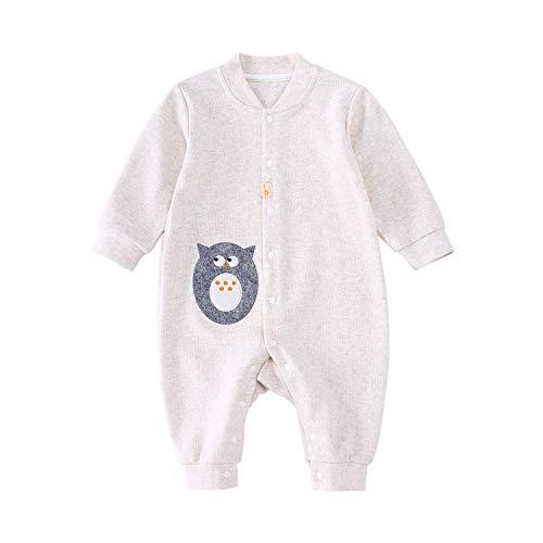 pureborn Baby Coverall Infant Infant Romper Pajamas Cute Cartoon Animals Organic Cotton Long Sleeve Jumpsuits Sleepwear Owl Beige 0-3 -