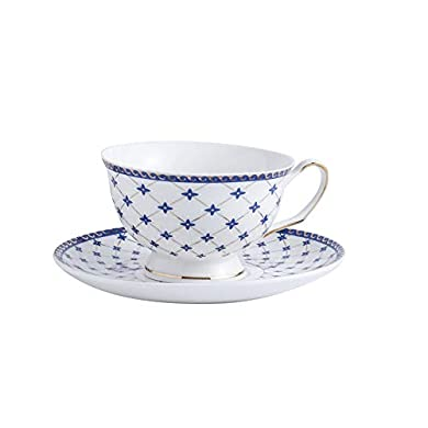 Pure White Court Style with Saucer and Spoon SUMERFLOS Fine Porcelain Tea Coffee Cup and Saucer Set 6oz Set of 6
