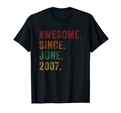 Awesome Since June 2007 12th Birthday Gifts 12 Yrs Old Shirt]()
