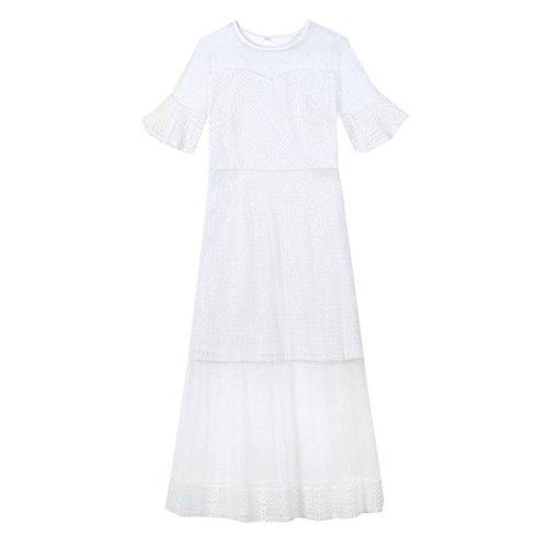 Jupe fe M MiGMV Maille desse fe Robe Robes Robe Longue Dentelle de White Ventilateur Robe wwFCR1