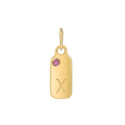 Mini Mini Jewels 14k Yellow Gold Pink Sapphire October Birthstone Set Letter X Dog-tag Pendant 14k Yellow Gold Pink Sapphire
