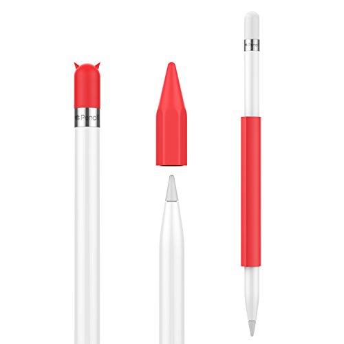 Price comparison product image MoKo Pencil Case Holder for Apple Pencil - Magnetic Silicone Pencil Holder Grip Sleeve Pouch Cover with Cap for Apple iPad Pro Pencil,  Red