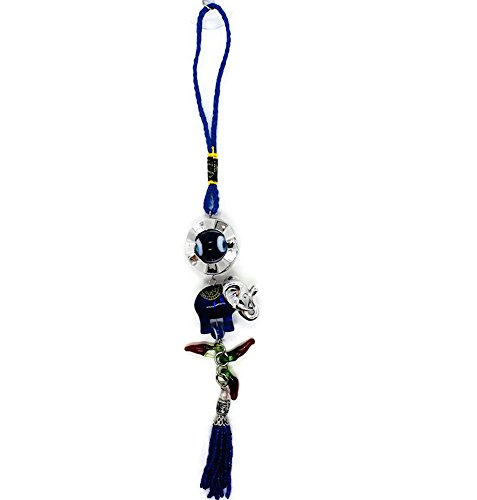 Bravo Team Lucky Blue Evil Eye Hanging Ornament for Protection and Blessing, Elephant Two-Tone & Red Pepper Charms for Strength and Power, Pendant Decoration for Car, Home and Office, Great Gift (Two Tone Glass Ornament)
