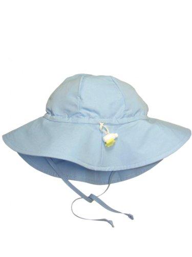 Iplay Baby Infant Toddler Unisex UPF 50 Solid Brim Sun Hat (Light Blue, 0-6 Months)