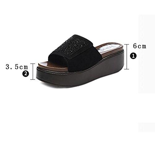 y veraniega Sandalias planas sandalias antideslizantes Sandalias 35 y antideslizantes sandalias Sandalias de sandalias de Tamaño moda FAFZ zapatillas y de cuña moda mujer de zapatillas UTHx7X