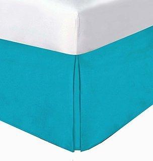 LaxLinens 250 fils cm², 100%  coton, finition élégante 1 jupe plissée de chute lit Longueur    30  Euro Double IKEA, bleu Turquoise Uni Turquoise