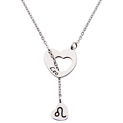 Ensianth Zodiac Signs Heart Necklace Stainless Steel Lariat Y Necklace (Leo)