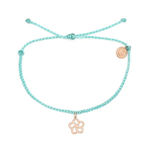 - Pura Vida Rose Gold Plumeria Seafoam Bracelet - Waterproof, Artisan Handmade, Adjustable, Threaded, Fashion Jewelry for Girls/Women
