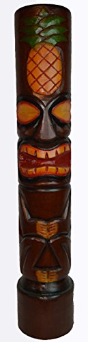 HAND CARVED BEAUTIFUL 3 FT PINEAPPLE MEANS GOOD LUCK WELCOME TIKI TOTEM POLE STATUE