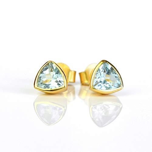 Earrings Vermeil Triangle - Blue Topaz triangle stud earrings, everyday earrings, Vermeil Gold bezel set studs, December Birthstone studs, Birthday gift, Blue triangle post earrings