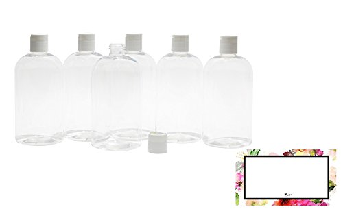 BAIRE BOTTLES - 8 OZ CLEAR PLASTIC REFILLABLE BOTTLES with WHITE HAND-PRESS FLIP DISC CAPS - ORGANIZE Soap, Shampoo, Lotion with a Clean, Clear Look - PET, BPA Free - 6 Pack, BONUS 6 FLORAL LABELS