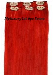 My Scene 6 Piece Clip in Hair Extensions Red Clip-on Peekaboo Streaks