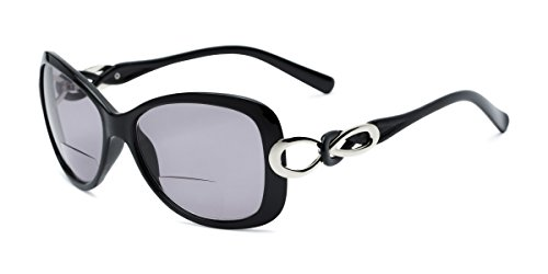 Readers.com | The Delia Bifocal Reading Sunglasses +2.25 Black with Smoke Retro Square Stylish Women's Full Frame