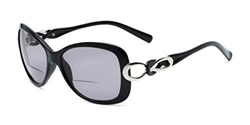 Readers.com | The Delia Bifocal Reading Sunglasses +2.25 Black with Smoke Retro Square Stylish Women