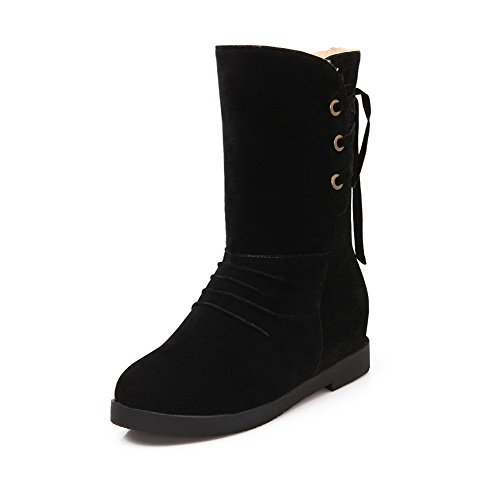 Suede Mid Heels Kitten Lace Top up Black Solid Women's Allhqfashion Imitated Boots YnRqf4wZ1x
