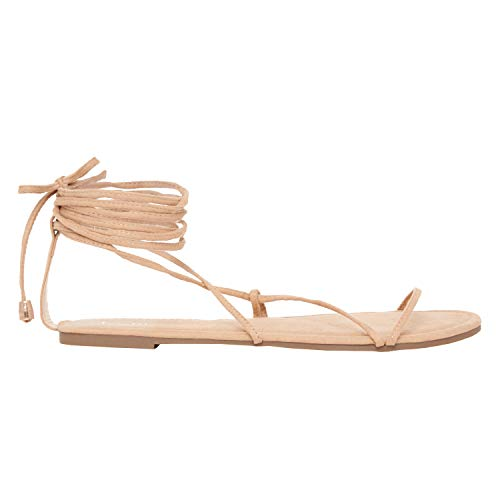 Rohb by Joyce Azria Getty Strappy Lace Up Gladiator Flat Summer Sandal (Nude Faux Suede) Size - Sandals Flat Strap Gladiator