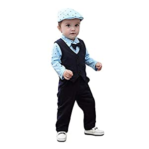 Hopscotch Boys Cotton Onesies with Waistcoat and Pant Set in Blue Colour