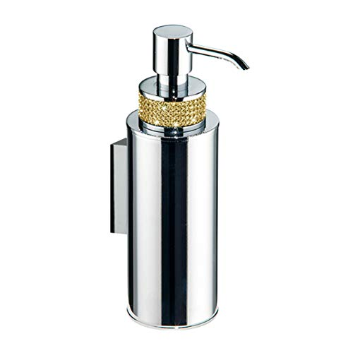 Secret Bath Polished Chrome Wall soap Dispenser Made of Brass with 220 Gold Swarovski Crystal Inlaid, Modern and Elegant Design of The Carmen -