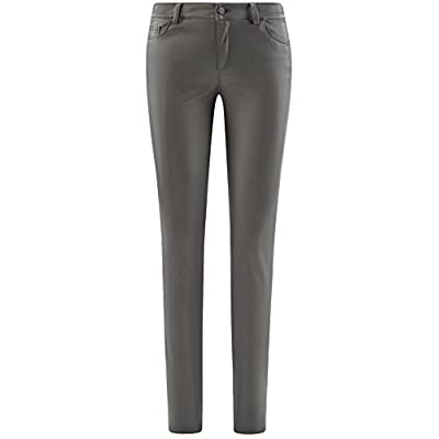 oodji Ultra Women's Slim-Fit Faux Leather Trousers at Women's Clothing store
