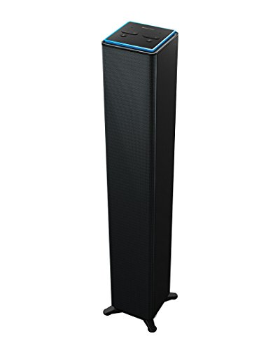 Sharper Image SWF2001GY Wall Powered Amazon Alexa Bluetooth Tower Speaker with Far Field Voice Control, Voice Controled Smart Floorstanding Tower Speaker with WiFi, Ask Alexa Anything You Want by Sharper Image