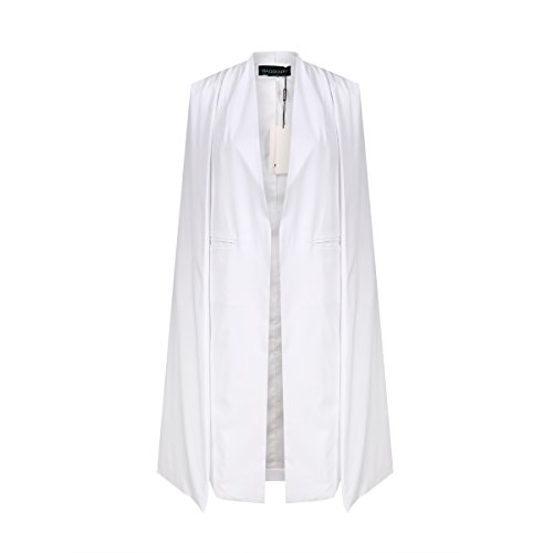 HaoDuoYi Women Casual Open Front Cape Trench Duster Coat Longline Blazer(M,White)