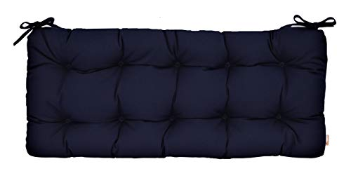 Resort Spa Home Decor Sunbrella Canvas Navy Indoor/Outdoor Tufted Cushion with Ties for Bench, Swing, Glider - Choose Size (72