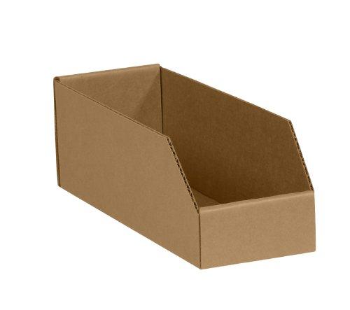 Corrugated Shelf Box - BoxYeah 50 Pack - Kraft Corrugated Open Top Storage Bin Boxes - 12 Sizes To Choose - Example (4 x 9 x 4 1/2)