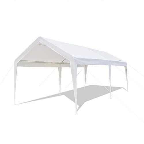 VINGLI 10' x 20' Heavy Duty Carport Car Canopy Shelter,250G Polyester Fabric Edge Cover, Anti UV Waterproof, Upgraded Steady Steel Legs,Versatile Garage Car Vehicle Park Tent, ()