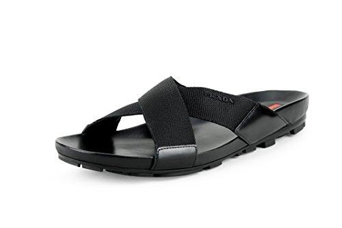 Prada Men's Spazzolato Ribbon Nylon Sandals, Black 4X2210 (8.5 US / 7.5 UK)
