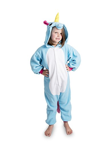 Emolly Fashion Kids Animal Unicorn Pajama Onesie - Soft and Comfortable with Pockets (6, Blue)