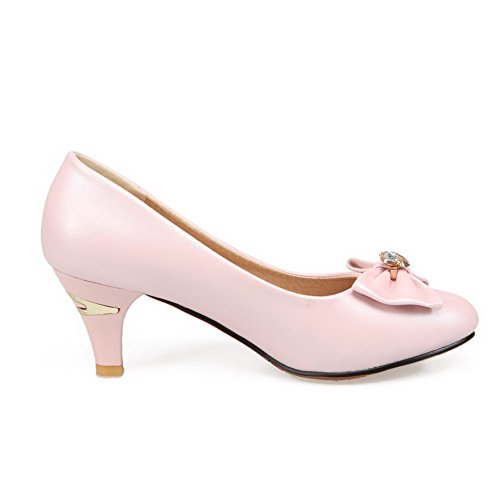 AllhqFashion Womens Solid PU Kitten Heels Pointed Closed Toe Pull on Pumps-Shoes Pink 7fKq13