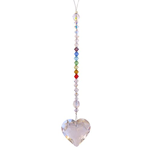 Clear Heart w/ Chakras - Rainbow Maker - Crystal Suncatcher- Home, Living Room, Bedroom, Kitchen, Car Decoration - Porch Decor - Sun Catcher - Hangings Crystal Glass Ornament