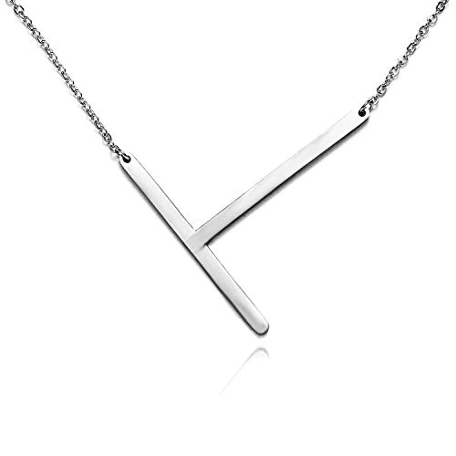 - RINHOO Stainless Steel Gold Initial Alphabet 26 Letters Script Name Pendant Chain Necklace from A-Z (T, Stainless Steel Silver Initial Necklace)