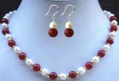 - FidgetGear 8mm Natural Red Jade Beads White Akoya Cultural Pearl Necklace 18