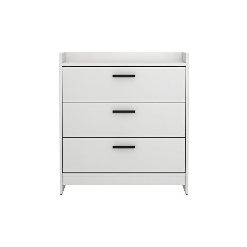 Charming 3 Drawer Chest, Metal, Sleek and Contemporary Handles, Ball Bearing Drawer Glides, No Snag Interior, Sturdy Engineered Wood Construction, Ample Storage Space, Frost White Finish