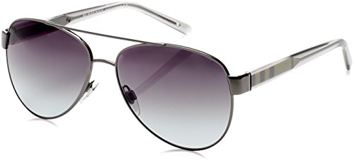 Burberry Women's BE3084 Sunglasses Gunmetal/Gray Gradient 57mm from BURBERRY