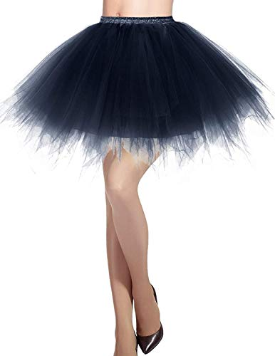 MizHome Womens Navy Plus Size Tutu Skirt Layered Tulle Skirt Adult Halloween Costumes for $<!--$19.77-->
