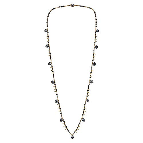 Glimpse Antique Pearl - AeraVida Glimpse of Cultured Freshwater Black Pearl and Crystal Long Multi-Wear Necklace