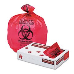 ** Health Care ''Biohazard'' Printed Liners, 1.3mil, 33 x 39, Red, 150/Carton **