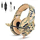Gaming Headset with Mic for PS4 Xbox One Controller,Noise Cancelling Over Ear Headphones with Microphone ,Bass Surround,Skin-friendly Earmuffs for Laptop PC Mac iPad and Smart Phones -3.5mm Camouflage