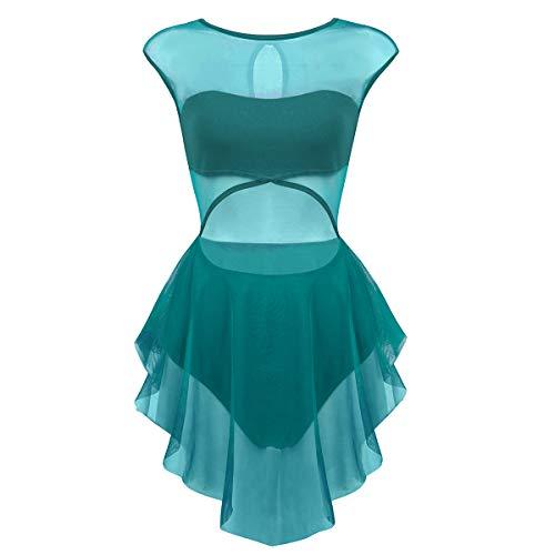 ranrann Women's Performance Asymmetrical Mesh Cutout Tank Dress Latin Lyrical Modern Dancing Costumes Teal Large]()