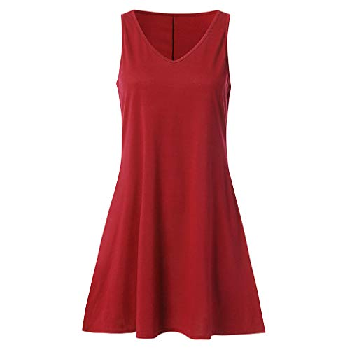 COOKI Women Dresses Summer Casual T Shirt Dress Beach Cover up Simple Swing Tank Dress Loose Plain Dress Red by COOKI Women Dresses (Image #2)